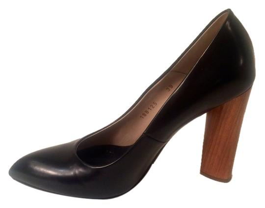 Saint Laurent Black with wood Heel Pumps