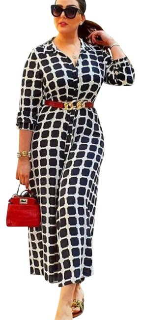 Item - Black and White Printed Long Casual Maxi Dress Size 6 (S)