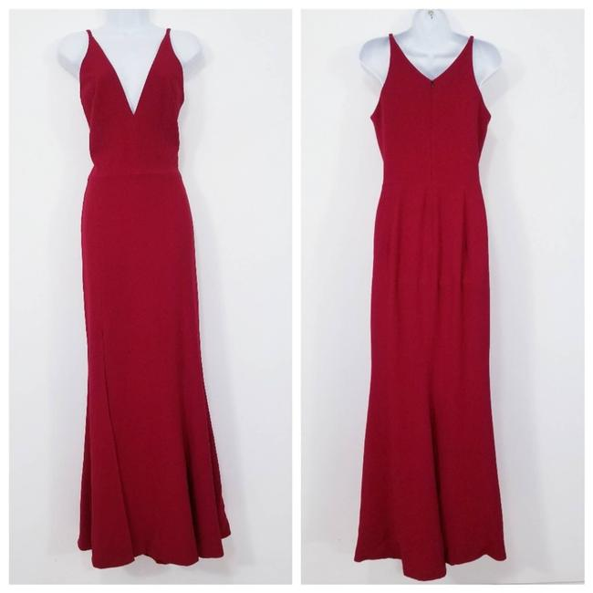 Item - Red Bridal Plunge Long Gown Sexy Wedding Dress Size 14 (L)