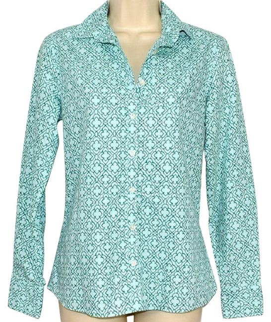 Item - Green Celtic Pattern Button-down Top Size 2 (XS)