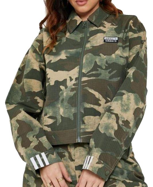 Item - Green Camo Cropped Track Ed 7458 Activewear Outerwear Size 4 (S)