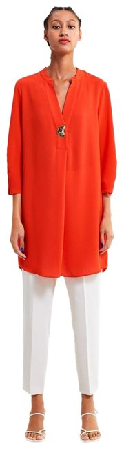 Item - Red Coral Tunic Loose Fitting Short Casual Maxi Dress Size 12 (L)