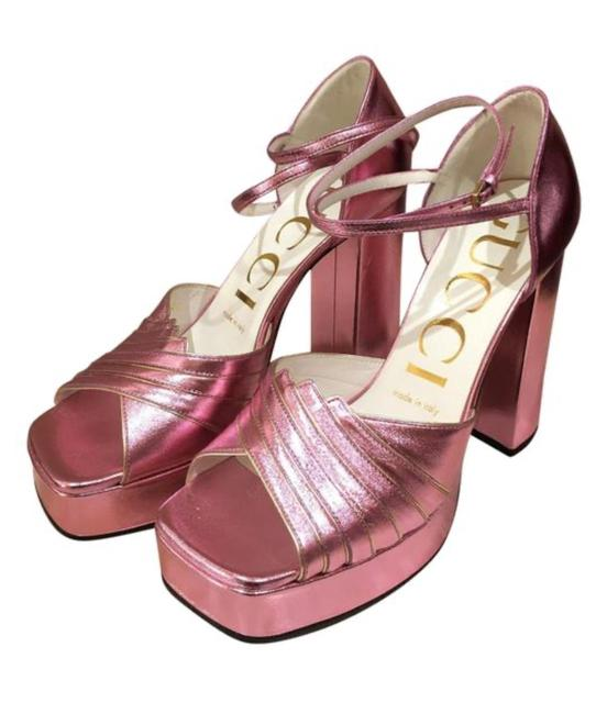 Item - Pink 601580 Medea Gold Piping Leather Platform Sandals Size EU 38 (Approx. US 8) Regular (M, B)