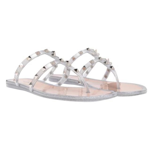 Item - Silver Jelly Rockstud Thong Sandals Size EU 37 (Approx. US 7) Regular (M, B)
