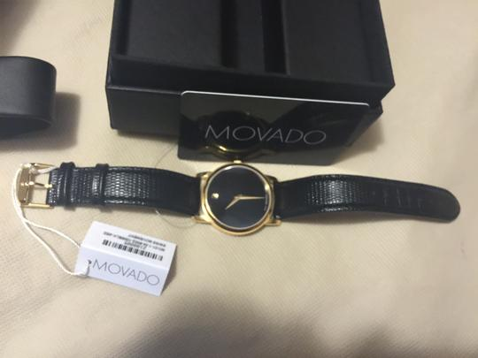 Movado Movado Museum Black Dial Black Leather Strap Watch---NEW