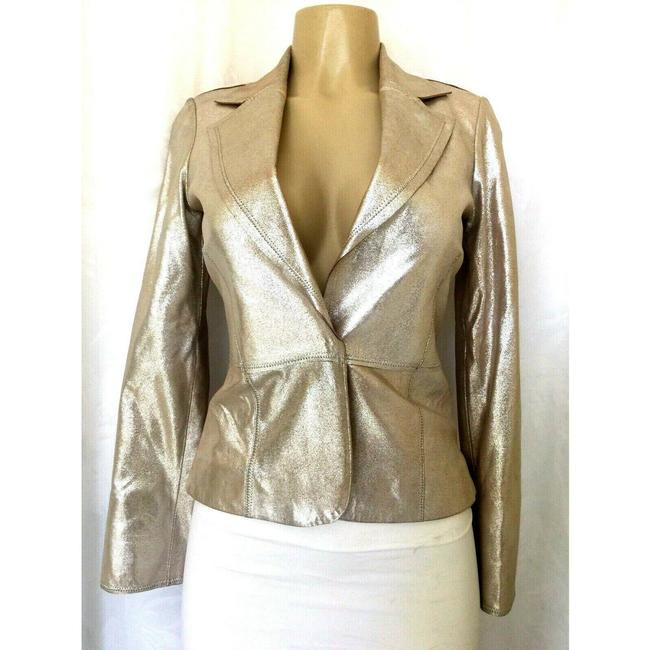 Item - Gold Jacket Metallic Rose Leather 0 Blazer Size 0 (XS)