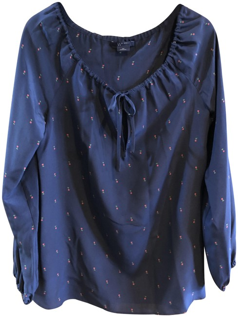 Item - Navy Boat Neck Silk Floral Blouse Size 6 (S)