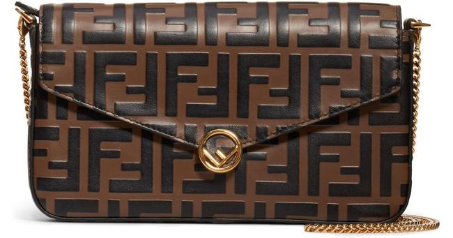 Item - New Flap Ff Chain Purse Brown Black Leather Cross Body Bag