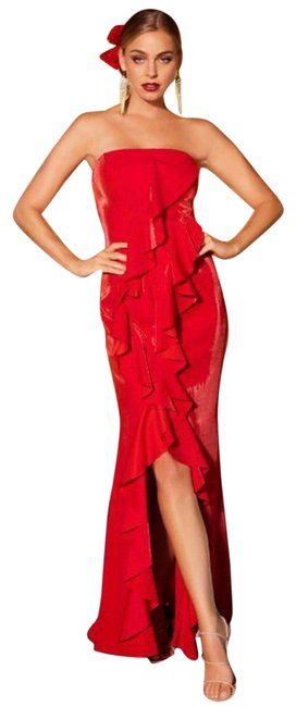 Item - Red Strapless Ruffle Maxi Long Formal Dress Size 4 (S)