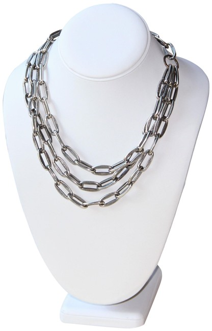 Item - Silver Textured Link Triple Strand Necklace