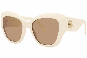 Gucci Brand New Gucci GG0808S 002 Sunglasses Women's Ivory/Brown Lens 53mm