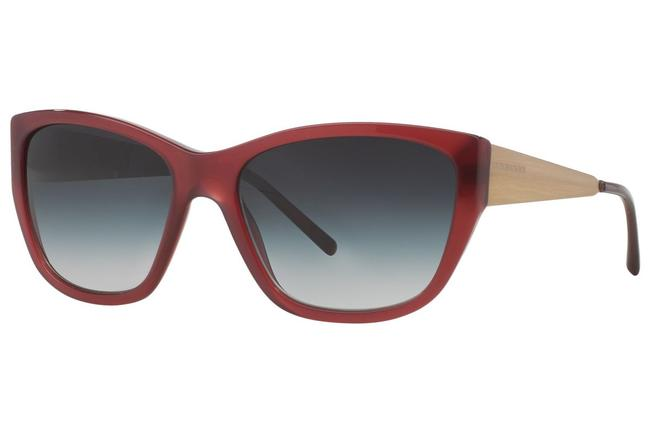 Burberry Bordeaux Red and Gold B4174 3402/8g 56mm Squared Cat Eye Sunglasses Burberry Bordeaux Red and Gold B4174 3402/8g 56mm Squared Cat Eye Sunglasses Image 1