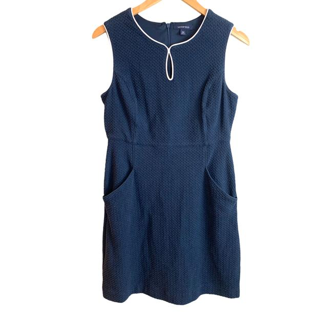 Item - Blue Navy Basketweave Sleeveless Sheath White Trim Nautical Short Casual Dress Size Petite 10 (M)