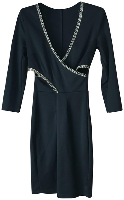Item - Black Gold Link Braiding Short Night Out Dress Size 8 (M)