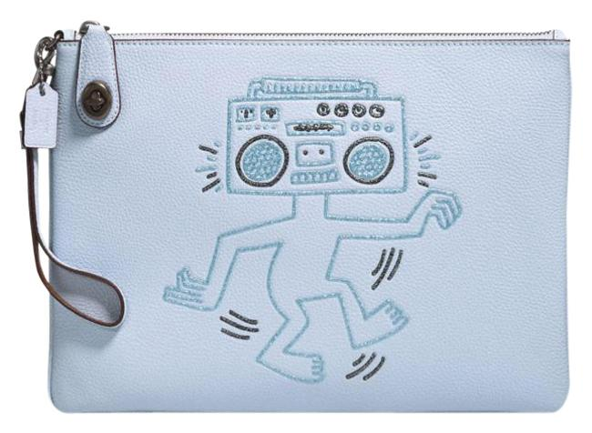 Item - X Keith Haring Turnlock Ice Blue Leather Wristlet