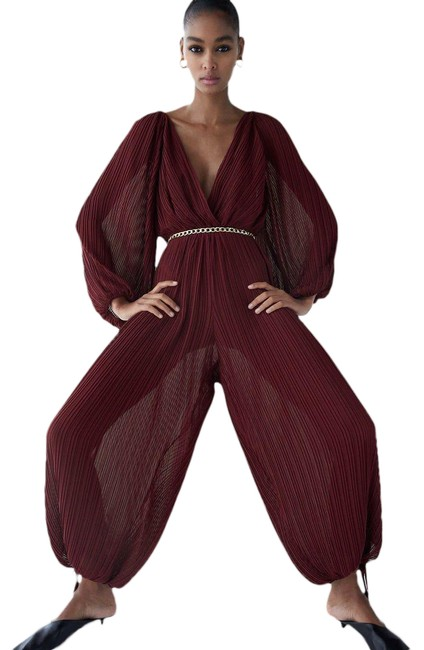 Item - Burgundy New Semi Sheer Small 7969/230 Romper/Jumpsuit