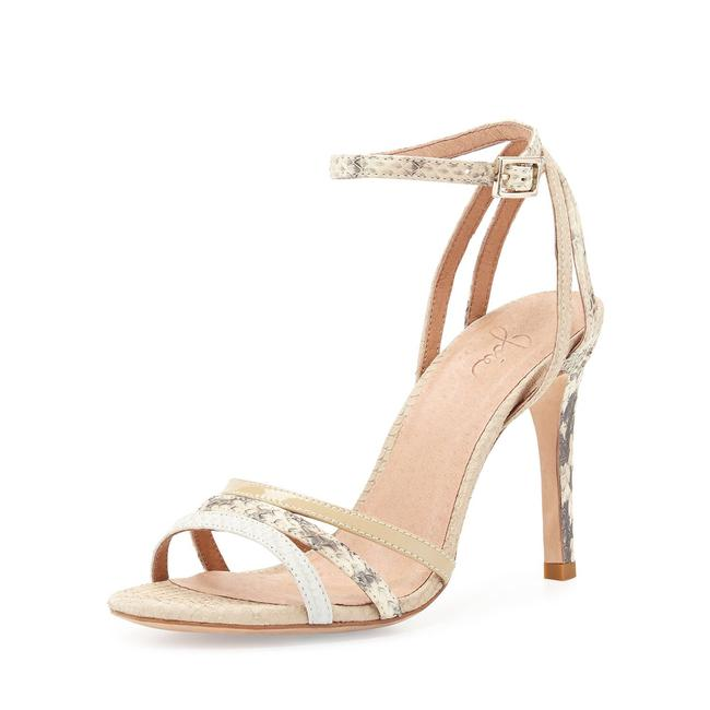 Item - Nude Multi Yvette Snake Embossed Leather Strappy Sandals Pumps Size EU 37.5 (Approx. US 7.5) Regular (M, B)