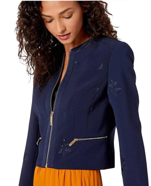 Item - Blue Cropped Embroidered Navy Blazer Size 6 (S)