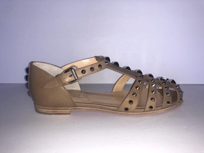 Item - Beige New Loubiclou Gladiator Taupe Spike Sandals Flats Size EU 38 (Approx. US 8) Regular (M, B)