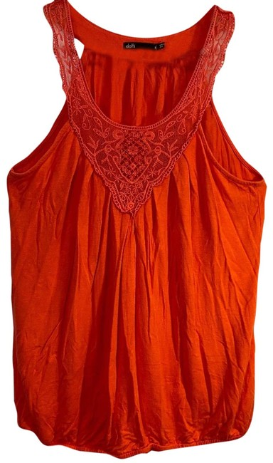 Item - Red W Red/Coral Tunic W/ Lace Small Blouse Size 4 (S)