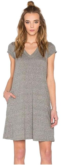 Item - Heather Gray The V-neck Trapeze Short Casual Dress Size 4 (S)
