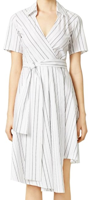 Item - Silver White Stripped V-neck Vivian Wrap Cocktail Dress Size 12 (L)