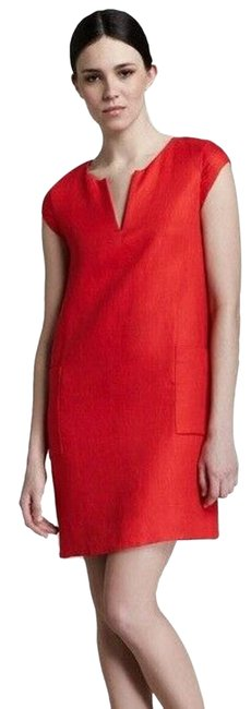 Item - Red Teri Linen Shift Neck Cap Sleeve Sheath Short Casual Dress Size 2 (XS)