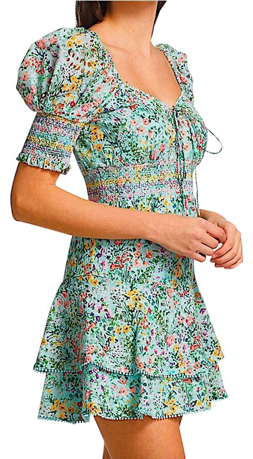 Item - Blue/Multi with Tag Crawford Floral Print Sweetheart Puff-sleeve Mini Short Cocktail Dress Size 4 (S)