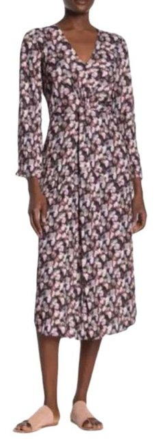 Item - Twist Micro Painted Floral Front Long Sleeve Midi 0 Mid-length Casual Maxi Dress Size 0 (XS)