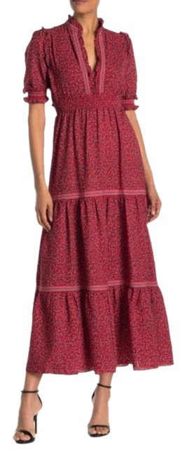 Item - Red Tiered Smocked Floral Long Casual Maxi Dress Size 2 (XS)