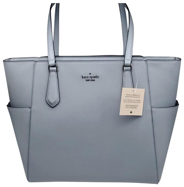 Item - Tippy Medium Top Zip Frosted Blue Leather Tote