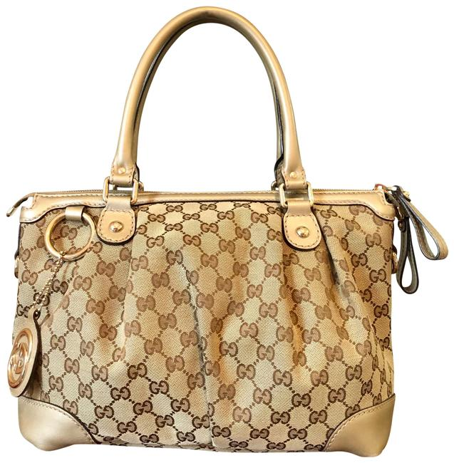 Item - Sukey Two-way Beige Canvas/Leather Satchel
