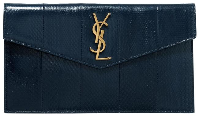 Item - Uptown Pouch Navy Snake-effect Leather Clutch