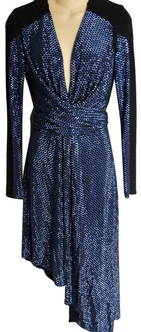 Item - Blue Black Beaded Mid-length Night Out Dress Size 4 (S)
