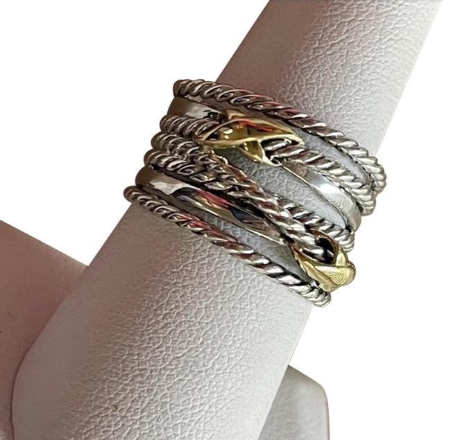 Item - Sterling Silver 18k Gold Crossover Double X Cable Ring