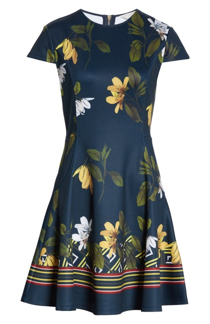 Item - Dark Blue Gallah Savanna Floral Skater Short Casual Dress Size 6 (S)
