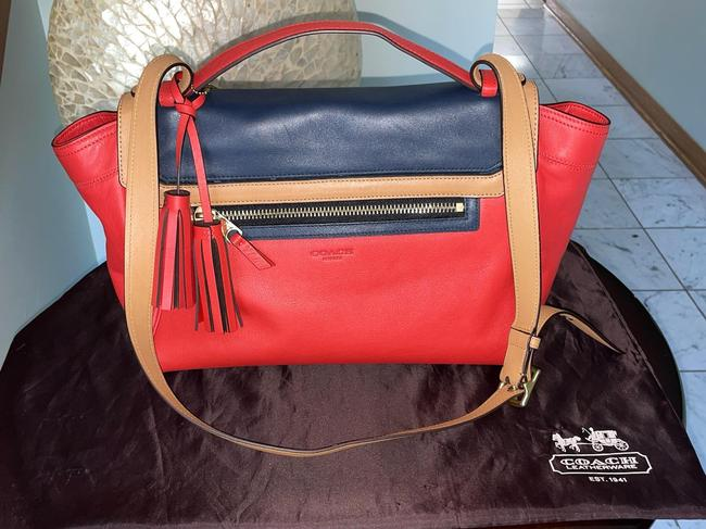 Item - Limited Edition Color Block Orange Navy Blue and Camel Leather Satchel