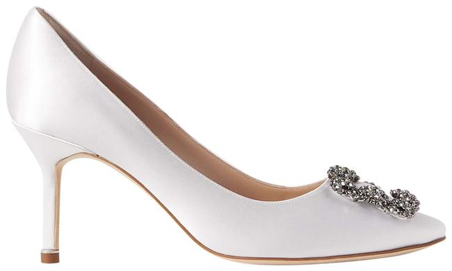 Item - White Hangisi Embellished Satin Pumps Size EU 37 (Approx. US 7) Regular (M, B)