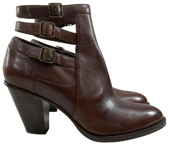 Item - Brown 3 Strap Ankle Buckle Stacked Leather Boots/Booties Size US 8 Regular (M, B)