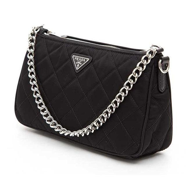 Item - Reedition Quilted Chain Top Handle Cross Body Carry 2005 2000 Black Nylon Shoulder Bag