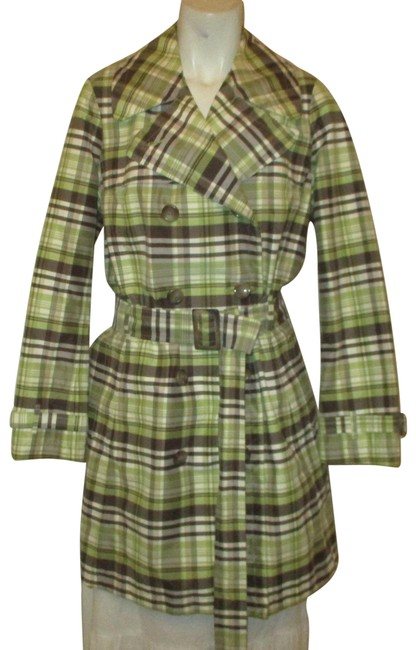 Item - Green Brown & White Plaid Belted Coat Size 6 (S)