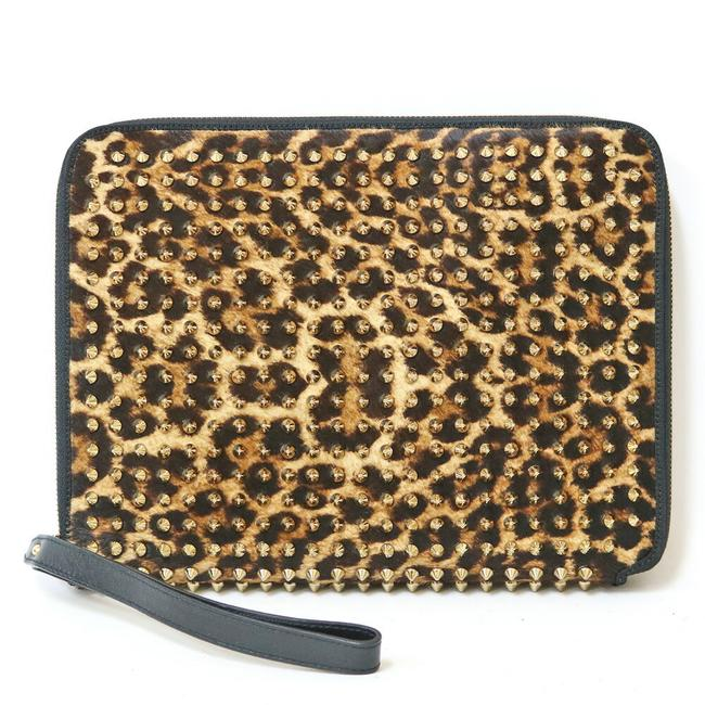 Item - Harako Leopard Print Studs Second Ladies Brown Leather Clutch