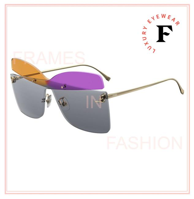 Item - Gold Purple Orange 0399 Karligraphy Ff0399s Pink Yellow Oversized Rimless Sunglasses