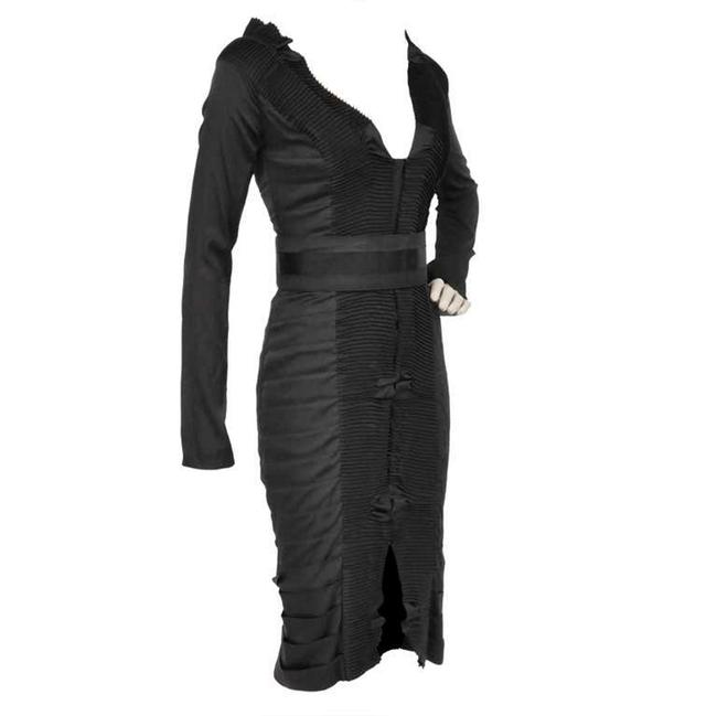 Item - Black W Tom Ford For Pleated Silk / 2004 Mid-length Night Out Dress Size 6 (S)