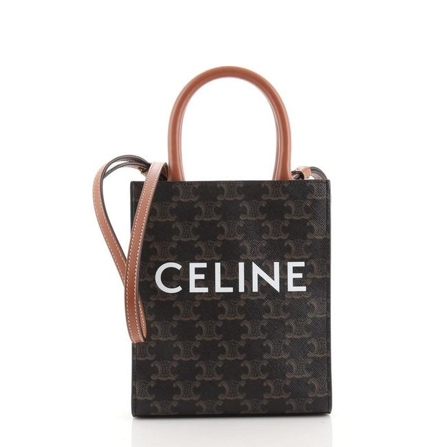 Item - Vertical Cabas Triomphe Mini Brown Coated Canvas Tote