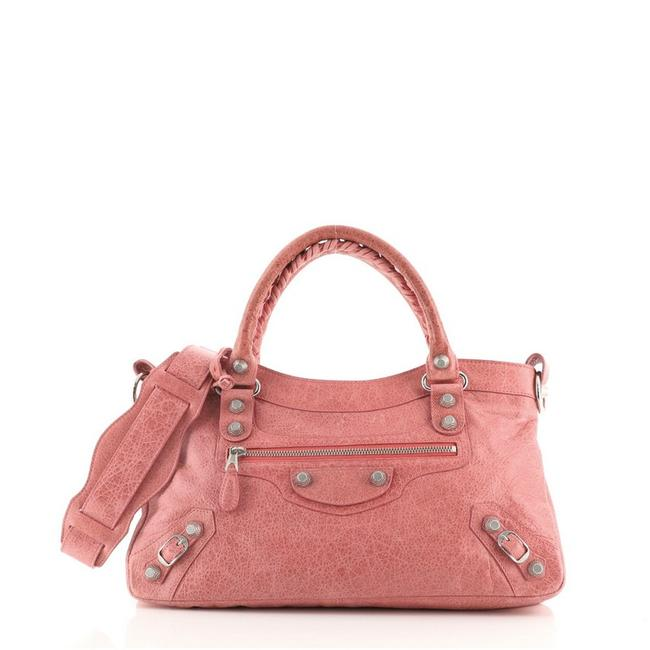 Item - First Giant Studs Pink Leather Satchel