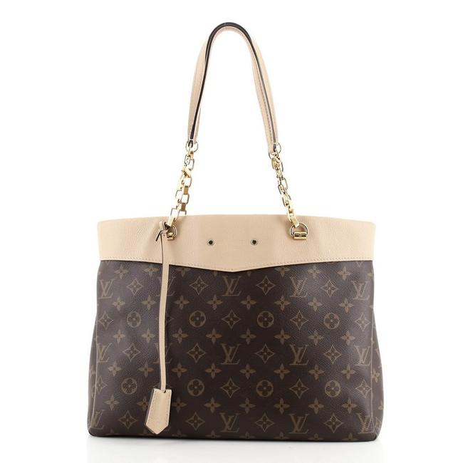 Item - Pallas Shopper Monogram and Calfskin Brown Neutral Canvas (Coated) Leather Tote