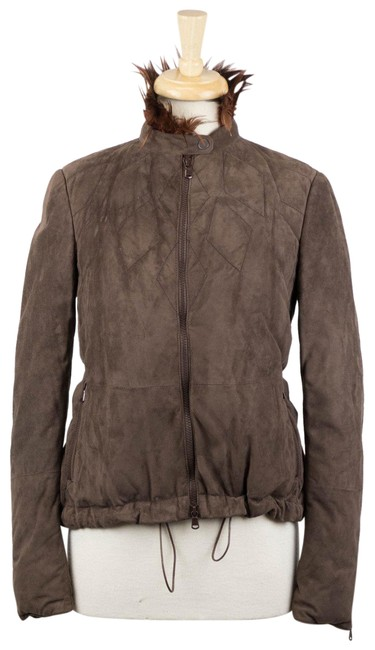 Item - Brown W Suede Leather W/ Rooster Collar 6/42 Activewear Outerwear Size 6 (S)