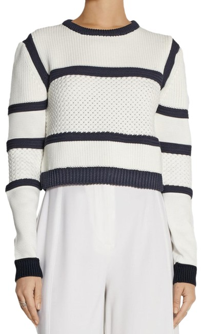 Item - Sailor Cropped Knitted Striped Women's Small White Sweater