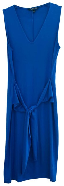 Item - Blue Sleeveless with Front Tie Work/Office Dress Size 6 (S)